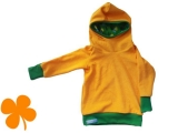 Hoodie Frottee gelb mit Bio-Interlock Klee