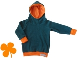 Hoodie Frottee staubblau, Kapuze Jersey Ringel orange