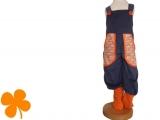 Latzhose Cord staubblau, Elefanten orange