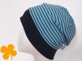 Beanie Ringel staubblau - blau