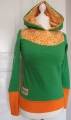 Hoodie Sweat grün Vintage Blumen orange