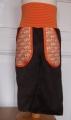 Schlaghose Breitcord braun, Taschen Elefanten orange