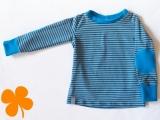 Shirt Ringel staubblau mit Patches