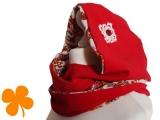 Kapuzenschal Cord rot, Blumengesteck
