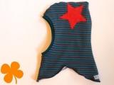 Schalmütze Ringel Jersey petrol  braun mit rotem Stern